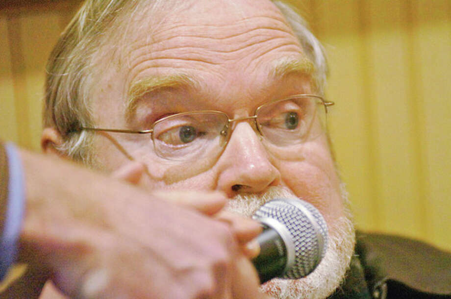 Wilton resident Steven Hudspeth asks questions of the panel of town officals during the annual Speak Up! town meting at the Trackside Teen Center Saturday morning.Hour photo / Erik Trautmann / (C)2011, The Hour Newspapers, all rights reserved