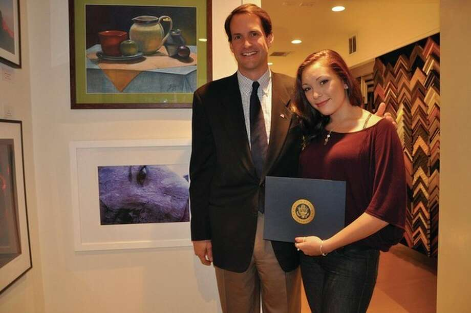 """Congressman Himes and Weston student Olivia Vaccaro. Olivia's photograph, """"Self-Portrait"""", received 2nd place in the 2011 Congressional Art Competition."""