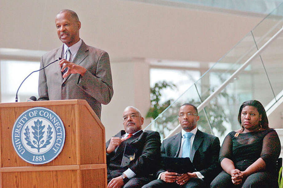 Jack Bryant, President of the Stamford NAACP, speaks at the Stamford UCONN Campus hosts Stamford's 8th annual black history month celebration Wednesday.Hour photo / Erik Trautmann / (C)2011, The Hour Newspapers, all rights reserved