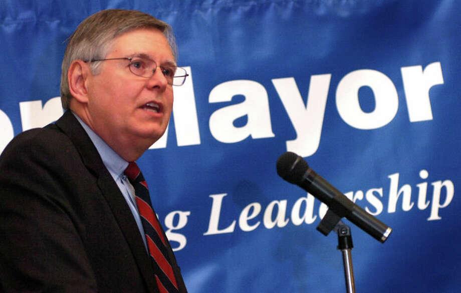 Photo/Alex von Kleydorff. David Martin announces his run for Mayor of Stamford.