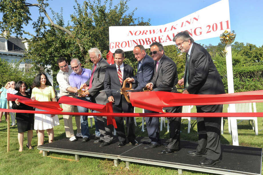 The ceremonial groundbreaking on expansion of the Norwalk Inn and Conference Center. From left, state Sen. Toni Boucher, R-26, state Rep. Gail Lavielle, R-143, Norwalk Inn spokesman Peter Handrinos, Norwalk Inn co-owner George Katsaros, Mayor Richard A. Moccia, state Sen. Bob Duff, D-25, state Rep. Lawrence F. Cafero Jr., R-142, Councilman Nicholas D. Kydes, Norwalk Preservation Trust President Tod Bryant. hour photo/matthew vinci / (C)2011, The Hour Newspapers, all rights reserved
