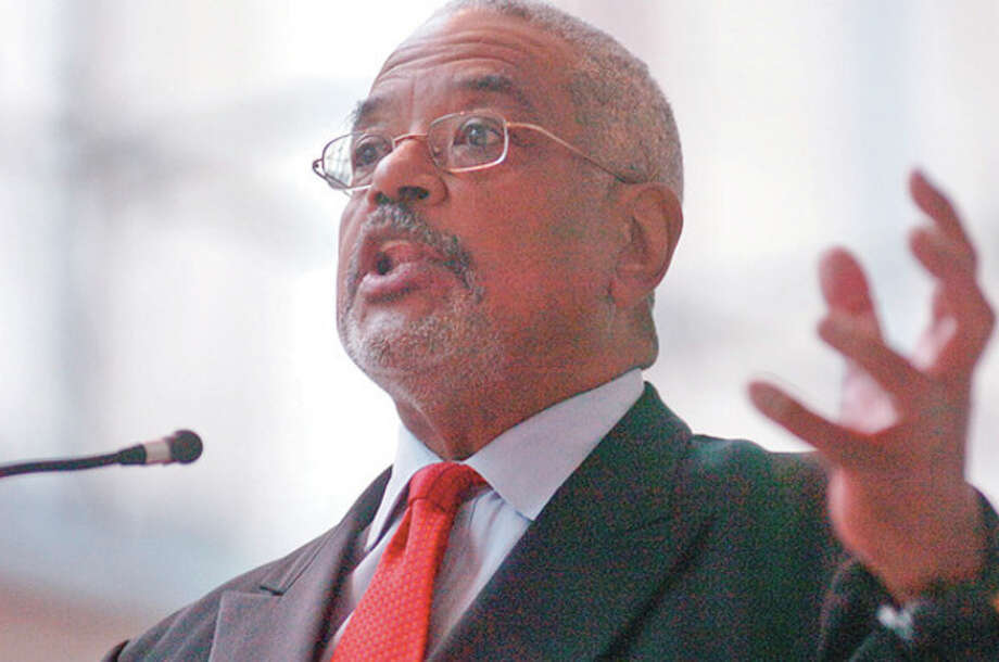 Bill Gallion was one of the featured speakers at Stamford UCONN Campus during Stamford's 8th annual black history month celebration Wednesday.Hour photo / Erik Trautmann / (C)2011, The Hour Newspapers, all rights reserved