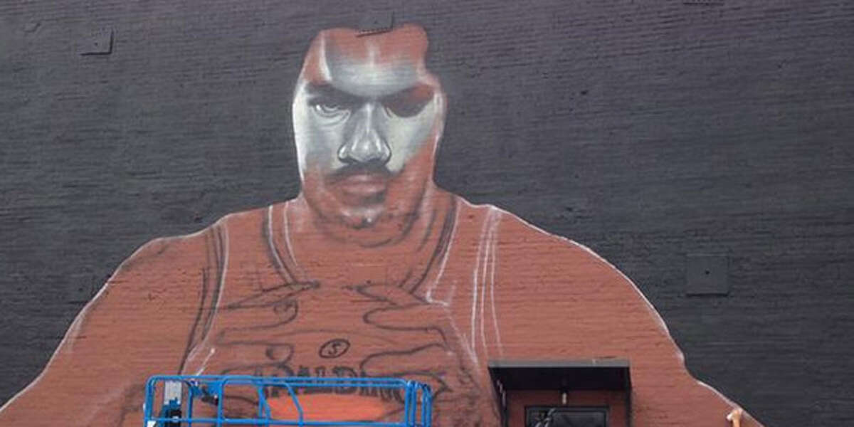 New Zealand painter Mr. G. Hoete Art employed this sketch to turn into a spray-paint mural of Oklahoma City center Steven Adams. (Twitter picture)
