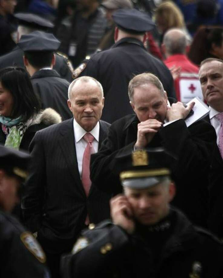 Police Commissioner Ray Kelly leaves after surveying the damage to a passenger ferry after it crashed on Wednesday, Jan. 9, 2013 in New York. At least 57 people were injured, two critically, when a commuter ferry struck a dock in New York City's financial district. (AP Photo/Bebeto Matthews) / AP