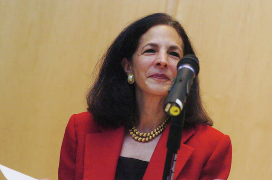 Republican Gail Lavielle at the Wilton Library.