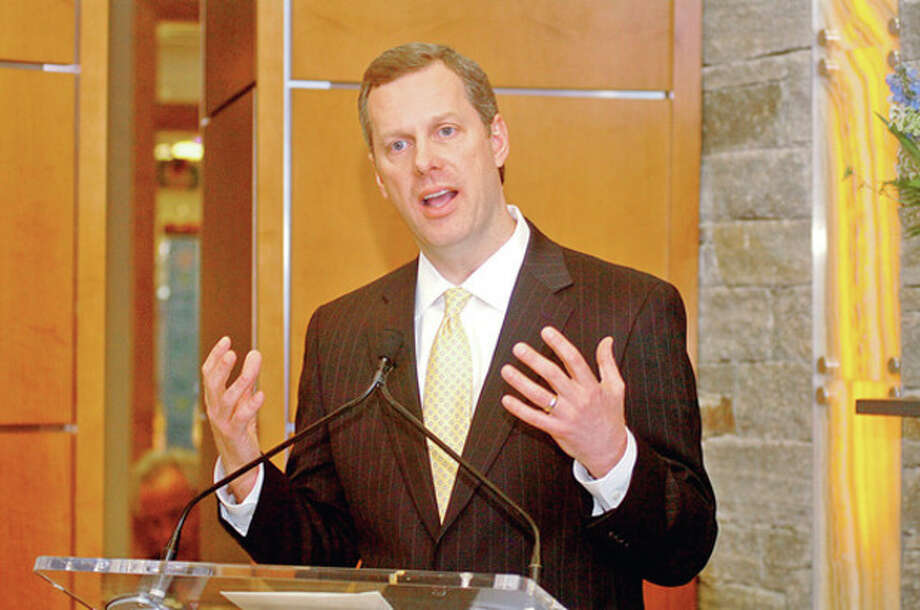 President of Norwalk Hospital Dan DeBarba speaks during the announcement the 10 million dollar donation from the McGraw family Friday that will go to the construction of the Anne P. and Harold W. McGraw Jr wing of the hospital.Hour photo / Erik TrautmannH / (C)2011, The Hour Newspapers, all rights reserved