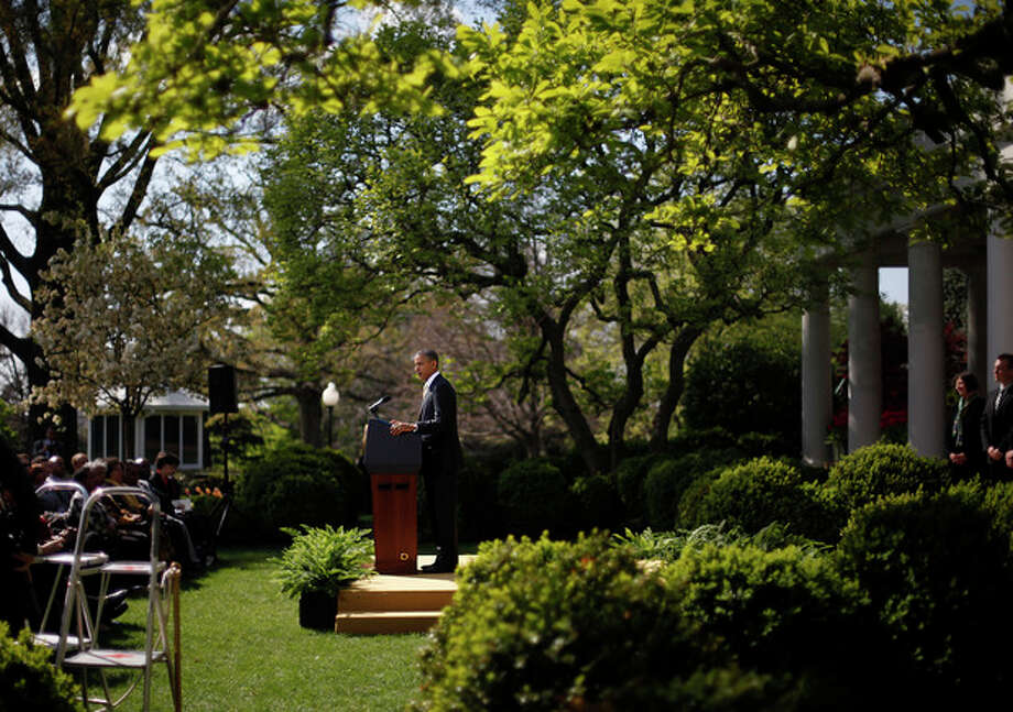 President Barack Obama speaks in the Rose Garden of the White House in Washington, Thursday, March 29, 2012, to urge Congress to eliminate tax breaks for oil and gas companies. (AP Photo/Pablo Martinez Monsivais) / AP