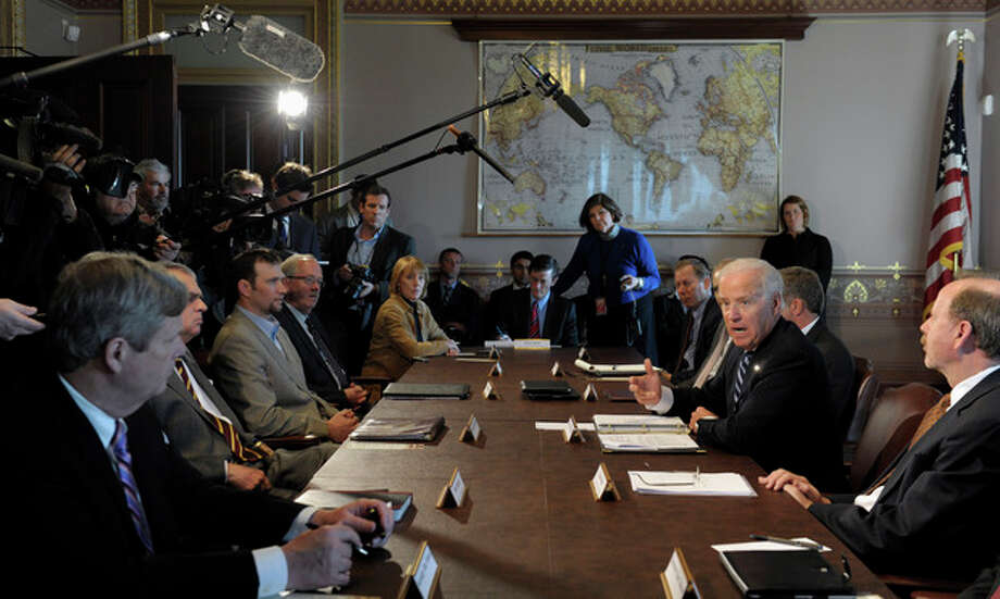 President Joe Biden gestures as he speaks during a meeting with Sportsmen and Women and Wildlife Interest Groups and member of his cabinet, Thursday, Jan. 10, 2013, in the Eisenhower Executive Office Building on the White House complex in Washington. Biden is holding a series of meetings this week as part of the effort he is leading to develop policy proposals in response to the Newtown, Conn., school shooting (AP Photo/Susan Walsh) / AP