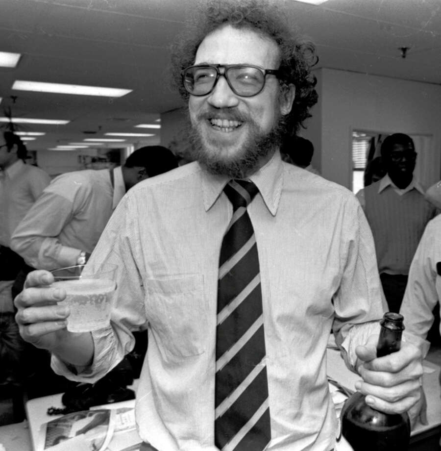 FILE - In an April 16, 1979 file photo, The Philadelphia Inquirer's Richard Ben Cramer celebrates with colleagues in the Inquirer city room after winning the Pulitzer Prize for his reporting in the Middle East. Cramer, whose narrative non-fiction spanned presidential politics and the game of baseball, died Monday, Jan. 7, 2013 at Johns Hopkins Hospital in Baltimore from complications of lung cancer, says his agent, Philippa Brophy. He was 62. (AP Photo/File) / AP