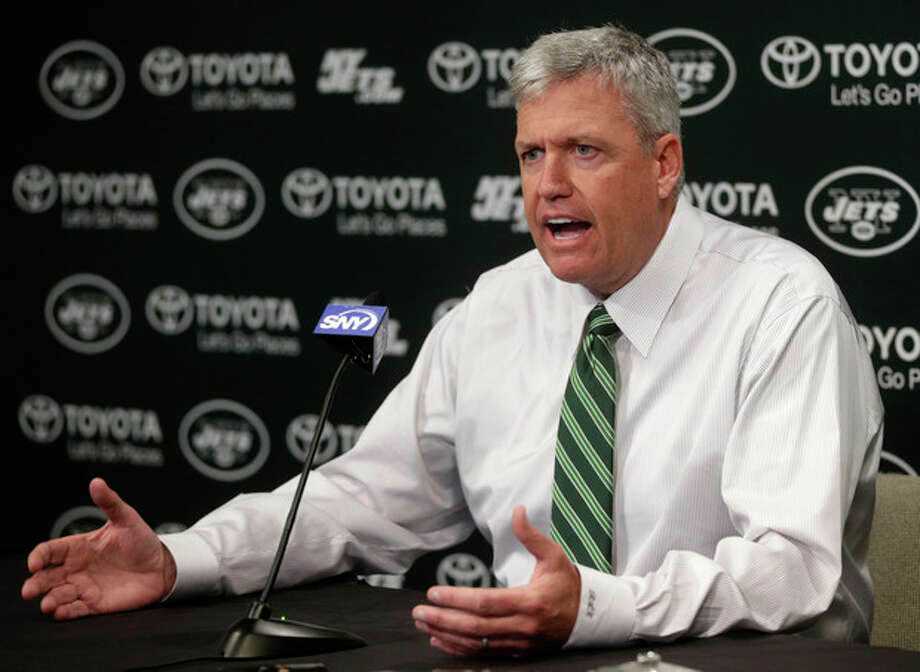 New York Jets head coach Rex Ryan speaks during a news conference Tuesday, Jan. 8, 2013 in Florham Park, NJ. (AP Photo/Seth Wenig) / AP