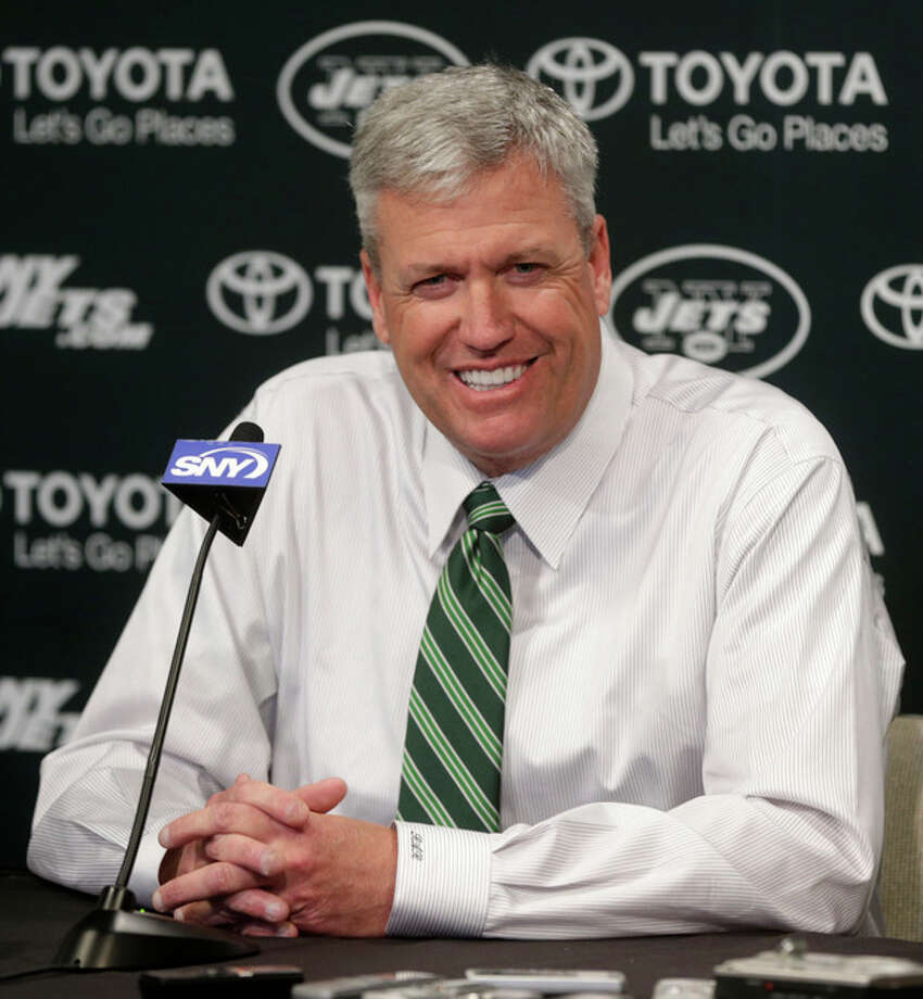 New York Jets NFL team head coach Rex Ryan participates in a news conference Tuesday, Jan. 8, 2013 in Florham Park, N.J. (AP Photo/Seth Wenig) / AP
