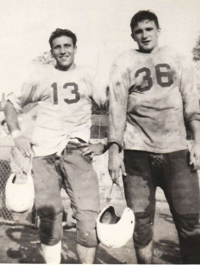 Callahan family photoThe late Bobby Callahan, the former chief justice of the Connecticut Supreme Court, is shown with his Norwalk High School backfield running mate Al Palumbo (13) during the 1945 season when the dynamic duo helped lead NHS to the County championship. The two formed a lifelong friendship that endured right up until Callahan passed away last week.