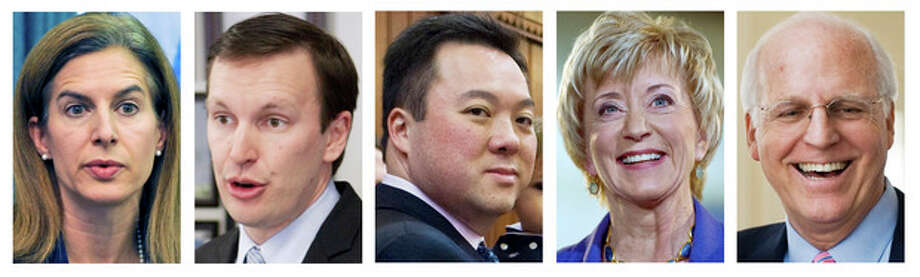 This panel of file photos shows the five front-running Democrats and Republicans vying for their party nominations to contend in the November 2012 general election for the U.S. Senate seat being vacated by the retiring Sen. Joe Lieberman, I-Conn. Shown, from left, are Democrat former Secretary of the State Susan Bysiewicz, Democrat U.S. Rep. Chris Murphy, Democrat state Rep. William Tong;, Republican former wrestling executive Linda McMahon and Republican former U.S. Rep Christopher Shays. (AP Photos) / AP