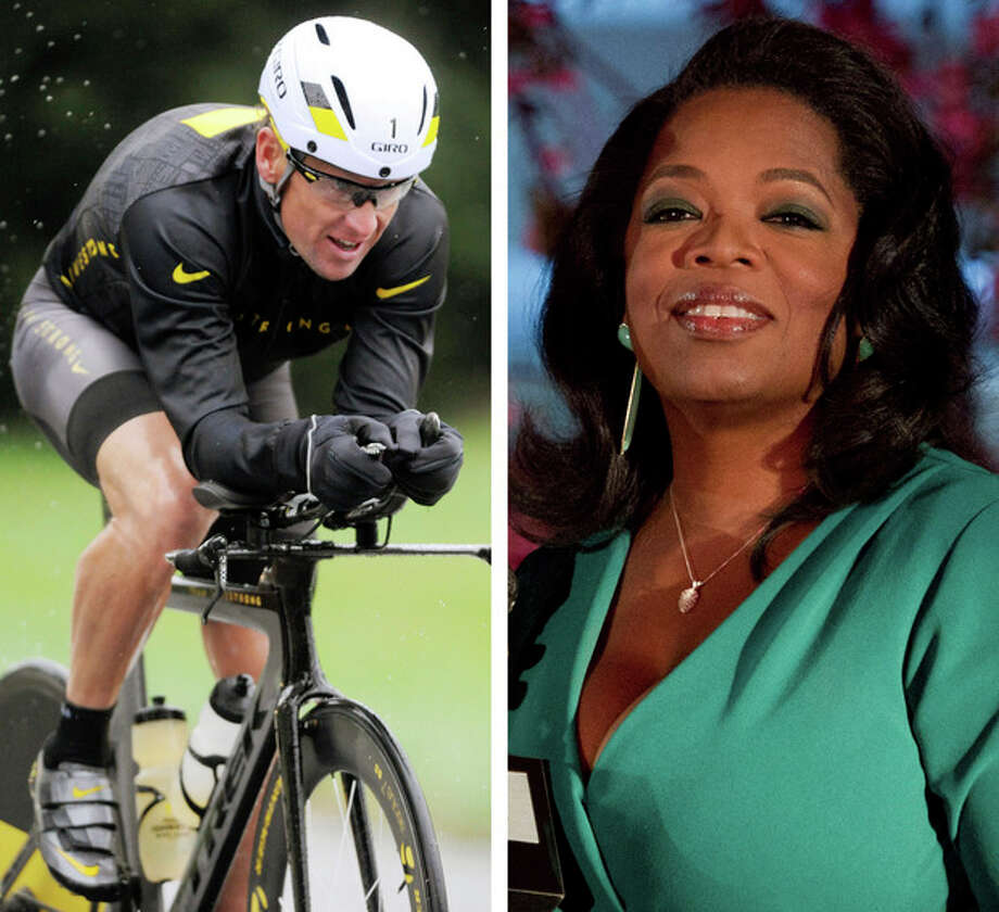 """FILE - This combination image made of file photos shows Lance Armstrong, left, on Oct. 7, 2012, and Oprah Winfrey, right, on March 9, 2012. After more than a decade of denying that he doped to win the Tour de France seven times, Armstrong was scheduled to sit down Monday, Jan. 14, 2013 for what has been trumpeted as a """"no-holds barred,"""" 90-minute, question-and-answer session with Winfrey. (AP Photos/File) / AP"""