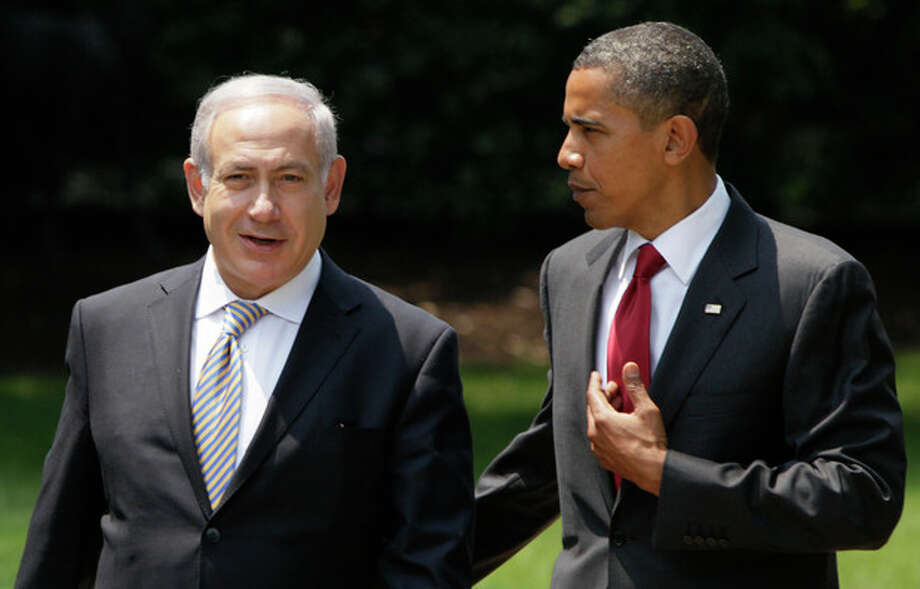 FILE - In this July 6, 2010, file photo, President Barack Obama, right, talks with Israeli Prime Minister Benjamin Netanyahu as they walk to Netanyahu's car outside the Oval Office of the White House in Washington. Obama heads into his second term weighed down not only by an American government snarled in partisan gridlock but also by a similarly unproductive relationship with the leader of Israel, the bedrock U.S. ally in the tumultuous Middle East. And the puzzle that is the U.S.-Israeli relationship under Obama and Netanyahu is only growing more complex. (AP Photo/Carolyn Kaster, File) / AP