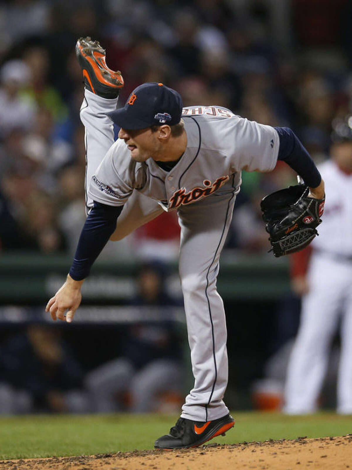 Detroit Tigers' Max Scherzer throws in the third inning during Game 2 of the American League baseball championship series against the Boston Red Sox Sunday, Oct. 13, 2013, in Boston. (AP Photo/Elise Amendola)