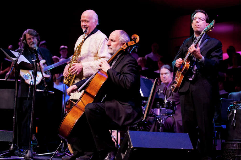 """Chris Brubeck (bass), Paul Winter (saxophone), Eugene Friesen (cello), Dan Brubeck (drums), and Mike DeMicco (guitar) perform """"Take Five"""" during the Community Celebration of the Life and Music of Dave Brubeck at Wilton High School on Saturday, January 12, 2013. (Chris Palermo / Hour Photo) / ©2012 The Hour Newspapers All Rights Reserved"""