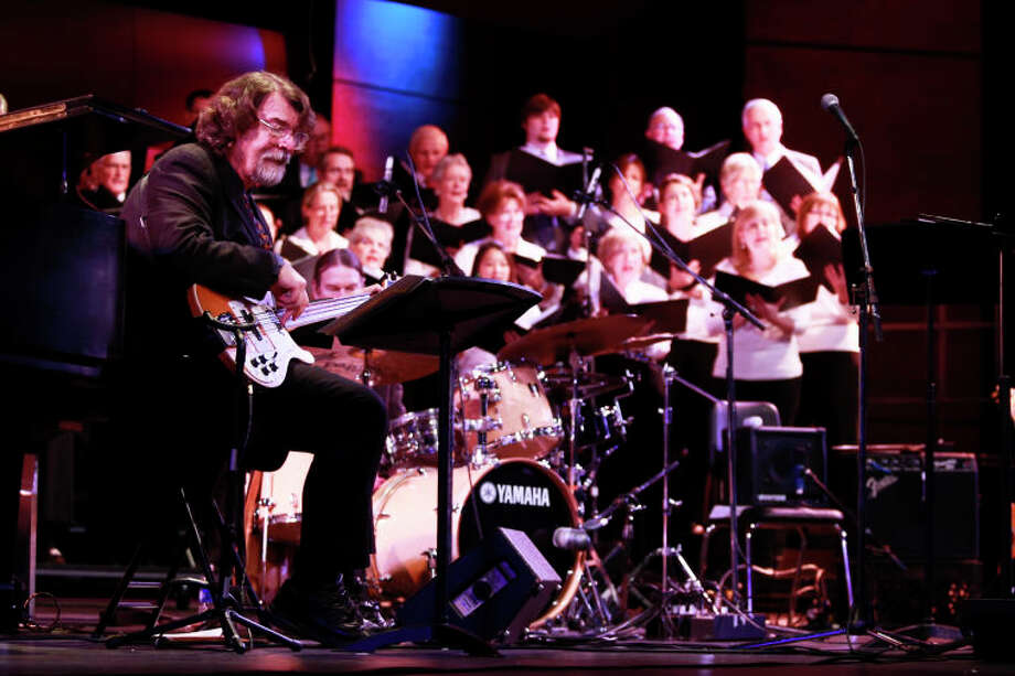 "Chris Brubeck performs ""Once When I was Very Young"" on bass with the Wilton Singers during the Dave Brubeck Memorial Celebration on Saturday night. (Chris Palermo / Hour Photo) / ©2012 The Hour Newspapers All Rights Reserved"