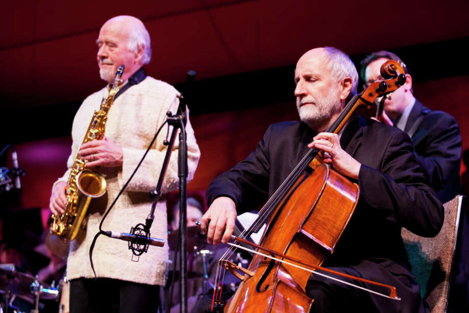 Eugene Friesen performs on cello with Paul Winter on saxophone and Mike DeMicco on guitar during the Community Celebration of the Life and Music of Dave Brubeck at Wilton High School on Saturday, January 12, 2013. (Chris Palermo / Hour Photo) / ©2012 The Hour Newspapers All Rights Reserved