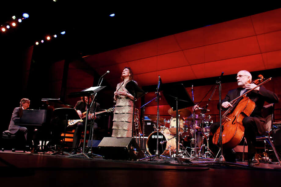 "Mary Bozzuti-Higgins performs ""Summer Song"" with Darius, Chris, Dan Brubeck and Eugene Friesen during the Dave Brubeck Celebration at Wilton High School on Saturday night. (Chris Palermo / Hour Photo) / ©2012 The Hour Newspapers All Rights Reserved"