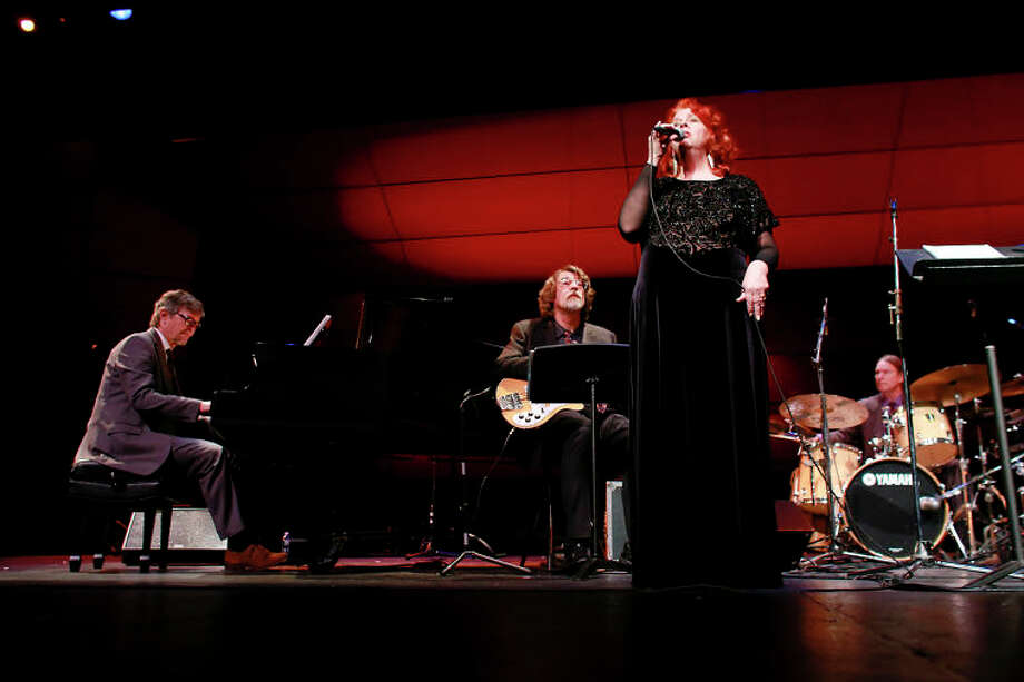"Dianne Mower performs ""Summer Song"" with Darius, Chris, and Dan Brubeck during the Dave Brubeck Celebration at Wilton High School on Saturday night. (Chris Palermo / Hour Photo) / ©2012 The Hour Newspapers All Rights Reserved"