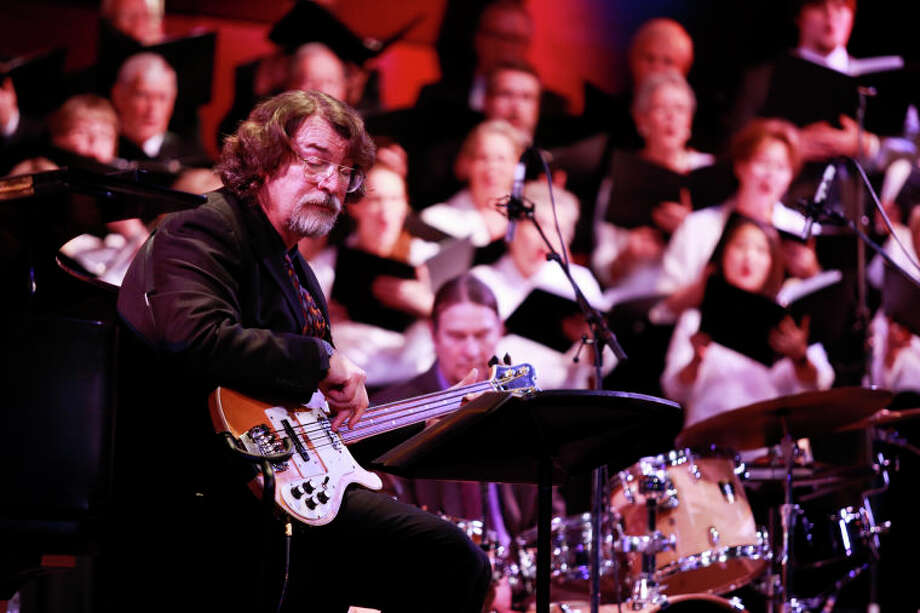"""Chris Brubeck performs """"Once When I was Very Young"""" on bass with the Wilton Singers during the Dave Brubeck Memorial Celebration on Saturday night. (Chris Palermo / Hour Photo) / ©2012 The Hour Newspapers All Rights Reserved"""