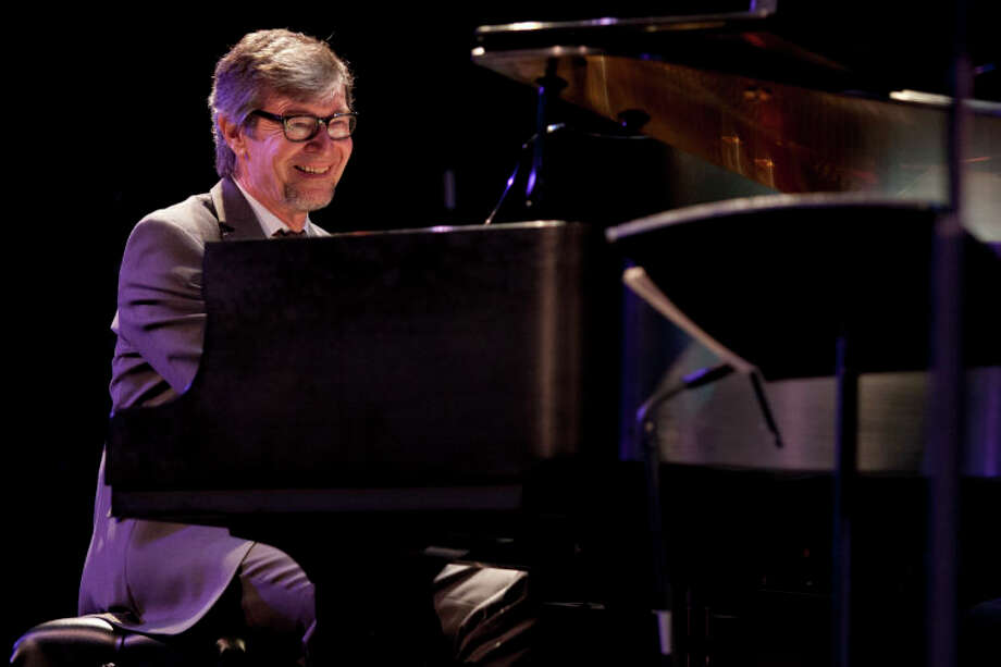 "Darius Brubeck smiles in the middle of a performance of ""Take Five"" during the Community Celebration of the Life and Music of Dave Brubeck at Wilton High School on Saturday, January 12, 2013. (Chris Palermo / Hour Photo) / ©2012 The Hour Newspapers All Rights Reserved"