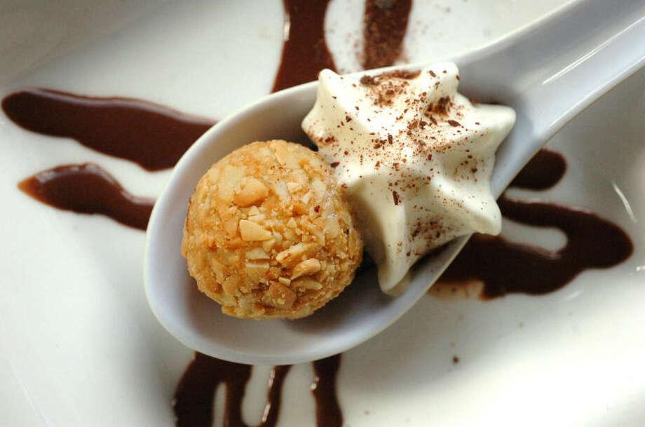 Hour Photo Alex von Kleydorff; Almond encrusted Chocolate Fondue Croquettes with Lemon Gelatin and fresh vanilla foam