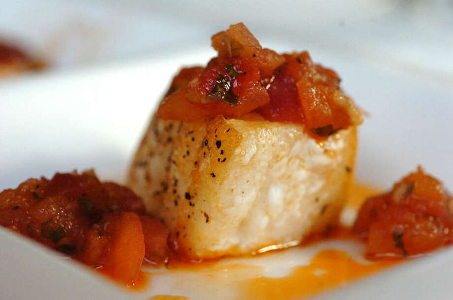 Hour Photo Alex von Kleydorff; Chilean Sea Bass with Tomato Concasse and Smoked Paprika at Tinto in Norwalk