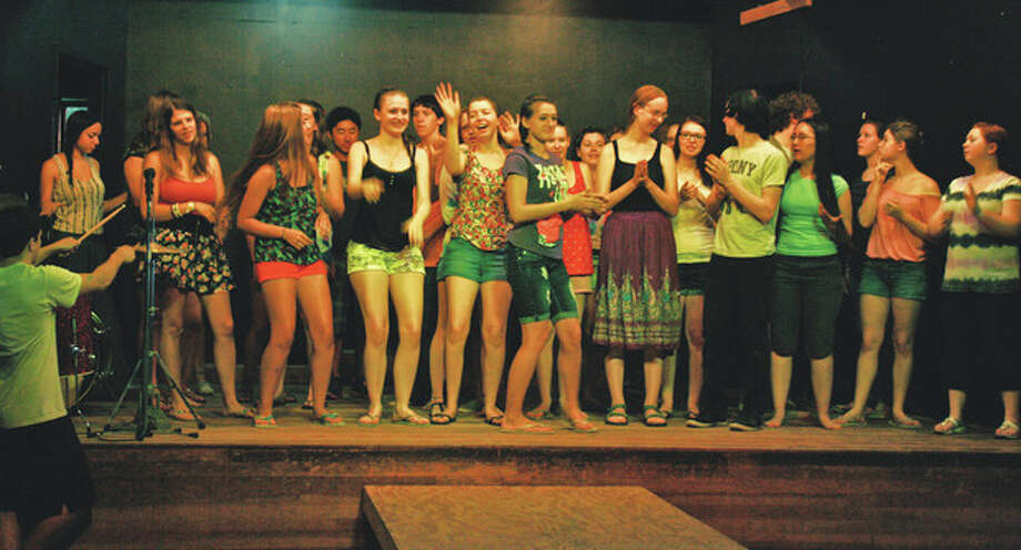 """Contributed photoThe cast of the God Show rehearses """"ignite the Fire,"""" an original musical based on Bible verses created over the course of a week at Silver Lake Conference Center in Sharon last summer."""