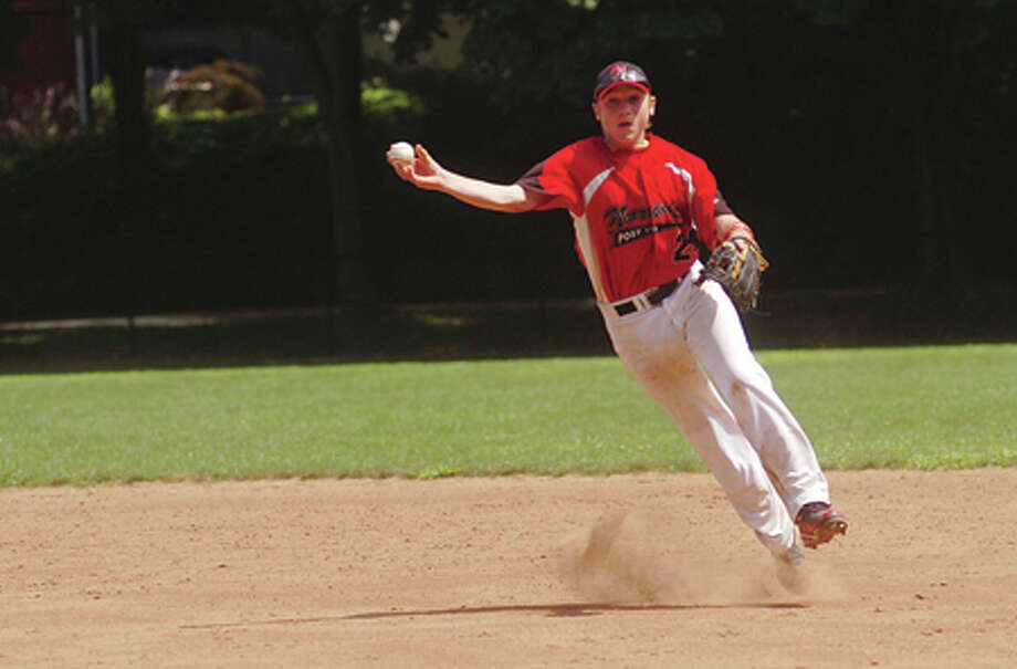 Norwalk Jr Legion second baseman Mike Giordano. Hour photo / Erik Trautmann / (C)2011, The Hour Newspapers, all rights reserved