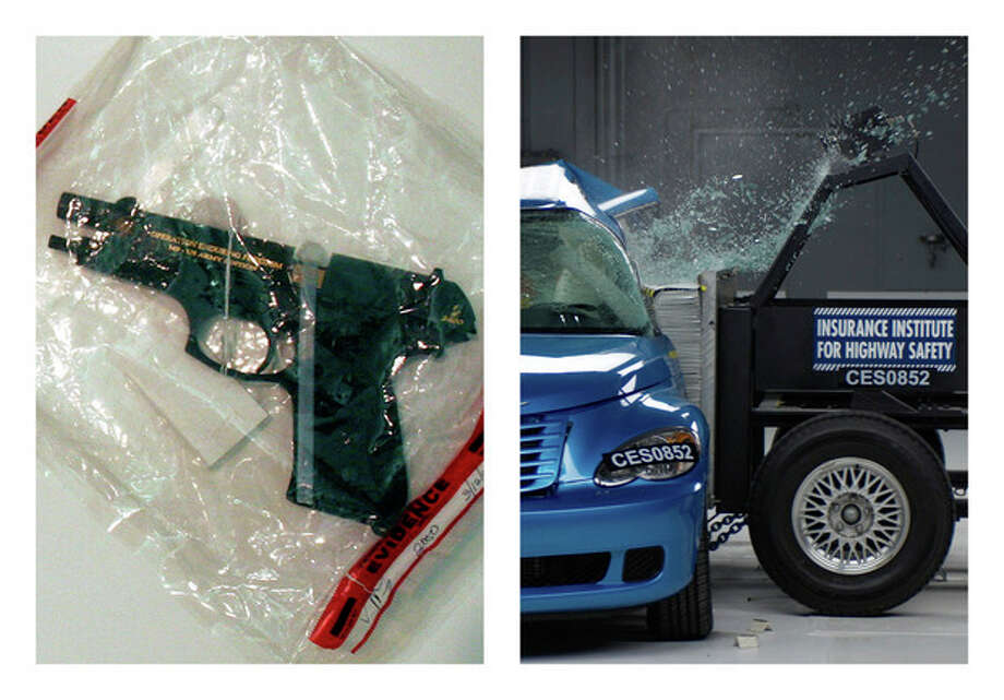 This combination of 2005 and undated file photos shows one of Charles A. McCoy Jr.'s guns included in evidence during his 2005 murder trial in Columbus, Ohio, left, and a side crash test on a 2008 PT Cruiser by the Insurance Institute for Highway Safety. Nearly as many Americans die from guns as from car crashes each year. We know plenty about the second group and little about the first. A lack of research on how to prevent gun violence has left policymakers shooting in the dark as they craft gun control measures without evidence of what works. (AP Photo/Tim Revell, Insurance Institute for Highway Safety) / POOL, Insurance Institute for Highway Safety