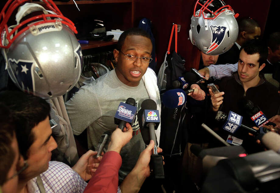 New England Patriots wide receiver Matthew Slater speaks with reporters in the football team's locker room at Gillette Stadium, in Foxborough, Mass., Monday, Jan. 14, 2013. (AP Photo/Steven Senne) / AP