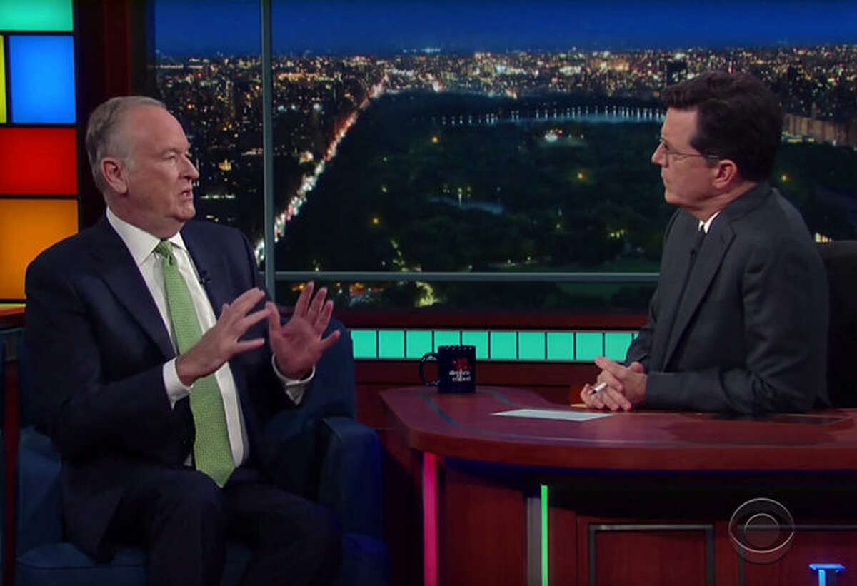 """Bill O'Reilly and Stephen Colbert, """"The Late Show with Stephen Colbert."""" Colbert's ratings are soaring, while sexual harassment allegations are causing advertisers to flee """"The O'Reilly Factor."""""""