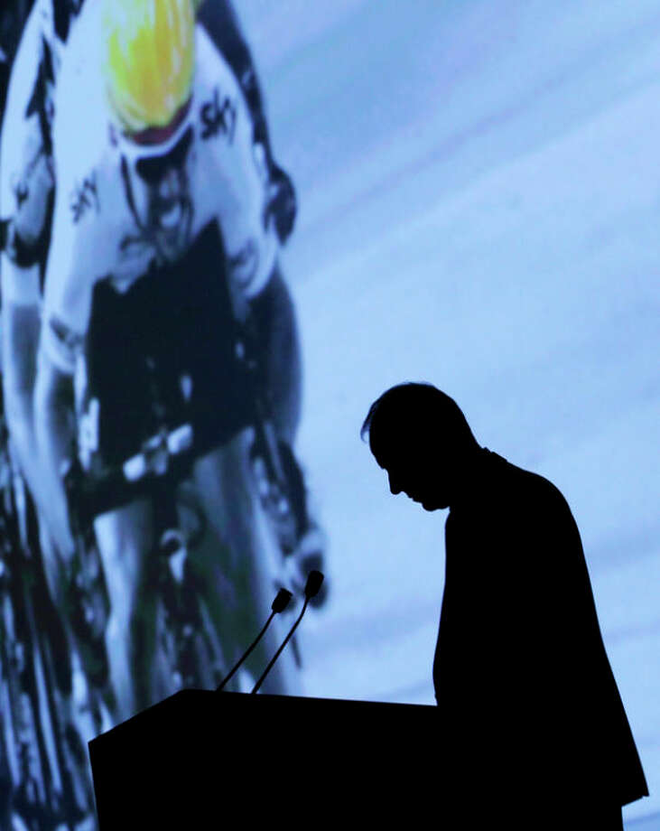 FILE - In this Oct. 24, 2012, file photo, Tour de France director Christian Prudhomme delivers his speech during the presentation of the 100th edition of the Tour de France in Paris. Cyclists competing in the race, scheduled to start June 29, 2013, and finish in Paris on July 21, will face an unprecedented double ascent of the iconic l'Alpe d'Huez as the race tries to move past the downfall of seven-time champion Lance Armstrong. After a decade of denial and being stripped of his titles, Armstrong said during an interview with Oprah Winfrey taped Monday, Jan. 14, 2013, that he used performance-enhancing drugs to win the Tour de France, a person familiar with the situation told The Associated Press. (AP Photo/Christophe Ena, File) / AP