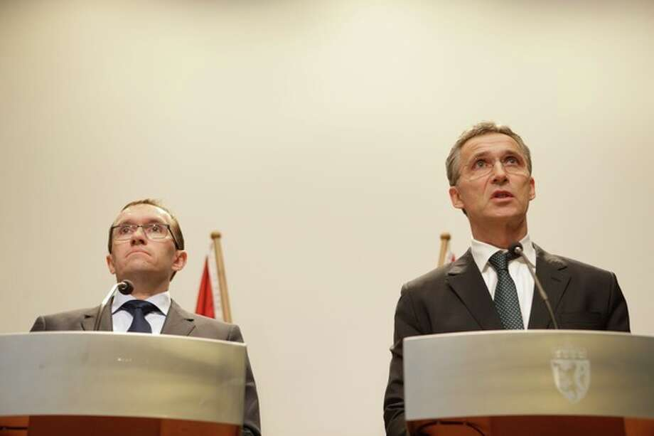 Norwegian Prime minister Jens Stoltenberg, right, and Foreign Minister, Espen Barth Eide, attend a press conference in Oslo regarding the attack on Statoil's plant in Algeria, where 13 Norwegians are among 17 workers who were taken as hostages, Wednesday, Jan. 16, 2013. Militants said they attacked and occupied the field partly operated by the British energy company BP because of Algeria's support of France's operation against al-Qaida-linked Malian rebels groups to the southeast. (AP Photo/NTB Scanpix, Berit Roald) NORWAY OUT / NTB scanpix
