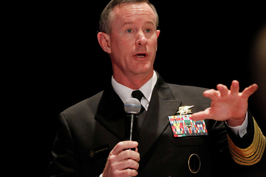 FILE - This Feb. 7, 2012 file photo shows Navy Adm. Bill McRaven, commander of the U.S. Special Operations Command speaking in Washington. U.S. officials say the Pentagon is stepping up aid for Mexico's bloody drug war with a new U.S.-based special operations headquarters to teach Mexican security forces how to hunt drug cartels the same way special operations teams hunt al-Qaida. (AP Photo/Charles Dharapak, File) / AP