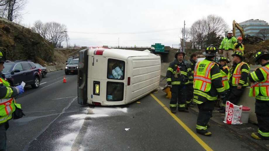 Contributed photoEmergency personnel respond to rollover on I-95 in Norwalk on Tuesday, Jan. 15.