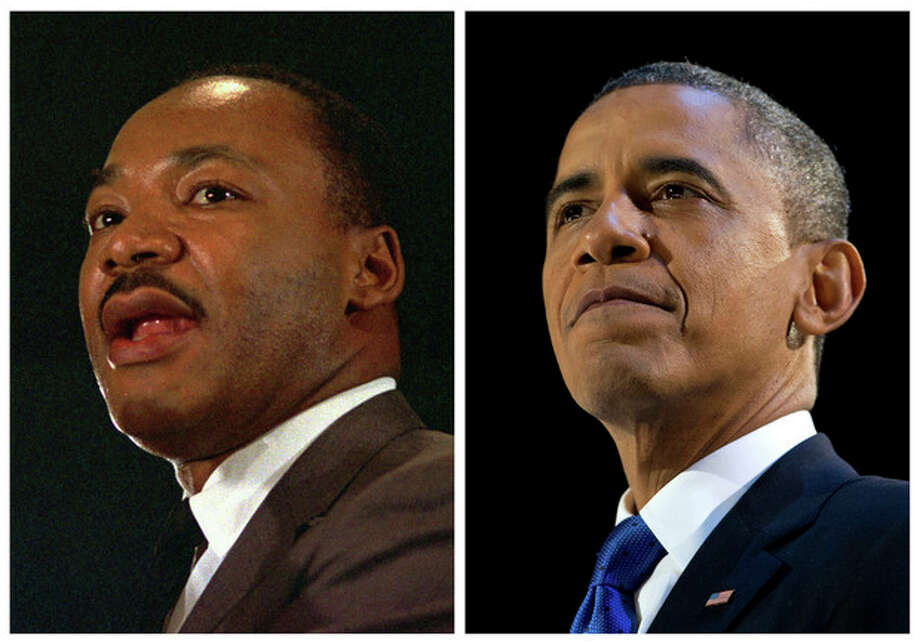 FILE - In this combination of file photos, the Rev. Martin Luther King Jr. speaks at a peace rally in New York on April 15, 1967, left, and President Barack Obama speaks at an election night party in Chicago after winning a second term in office on Nov. 7, 2012. Inauguration Day coincides with the King holiday, marking what some say is an inextricable tie between the nation's first black president and the civil rights movement. Obama plans to incorporate the legacy of that movement into his inauguration. (AP Photo, File) / AP