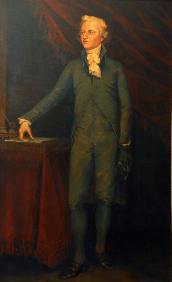 Portrait of Alexander Hamilton, a copy of a  John Trumbull painting hanging in the formal parlor of the Schuyler Mansion in Albany, NY. (Times Union archive) Photo: John Carl D'Annibale, Albany Times Union