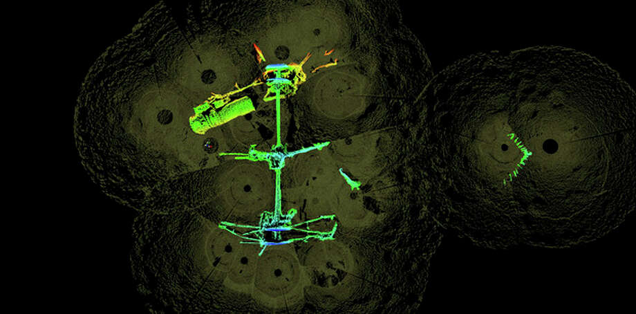 This 2012 high-resolution 3-D sonar image provided by the National Oceanic and Atmospheric Administration shows the remains of the USS Hatteras, the only U.S. Navy ship sunk in combat in the Gulf of Mexico during the Civil War. The image shows the ship's stern and rudder to the right, the paddlewheel shaft, engine machinery and one of the paddlewheels. (AP Photo/NOAA, Northwest Hydro Inc., James Glaeser) / National Oceanic and Atmospheric Administration