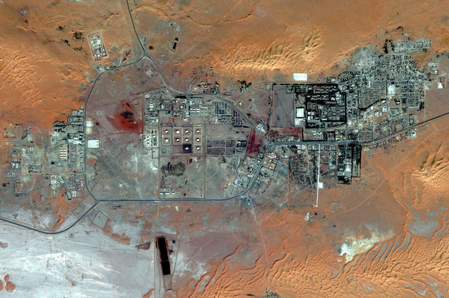 This Oct. 8, 2012 satellite image provided by DigitalGlobe shows the Amenas Gas Field in Algeria, which is jointly operated by BP and Norway's Statoil and Algeria's Sonatrach. Algerian special forces launched a rescue operation Thursday at the plant in the Sahara Desert and freed foreign hostages held by al-Qaida-linked militants, but estimates for the number of dead varied wildly from four to dozens. (AP Photo/DigitalGlobe) / DigitalGlobe