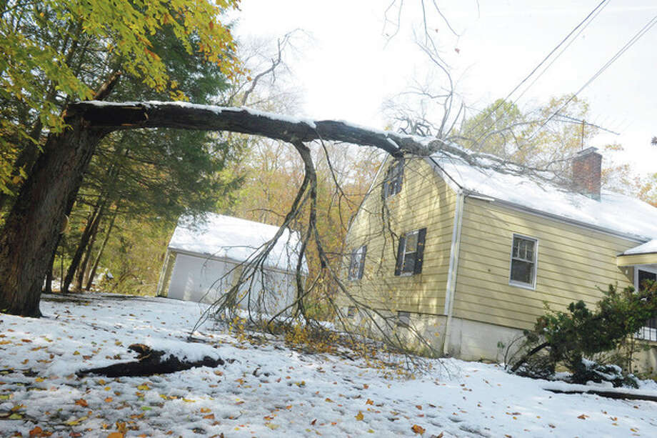 A fallen tree on a home on Riverbank road in North Stamford Monday after the weekend storm. photo/Matthew Vinci / (C)2011, The Hour Newspapers, all rights reserved