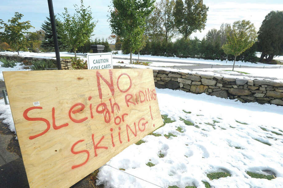The snow covered golf course at sterling Farms in Stamford is off limits to winter activites following the weekend storm. photo/Matthew Vinci / (C)2011, The Hour Newspapers, all rights reserved