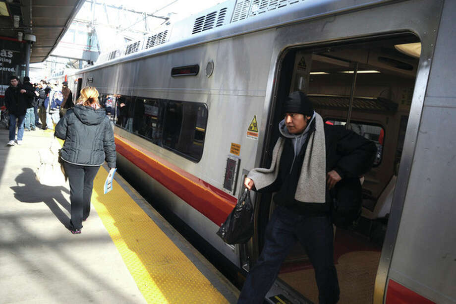 A new Metro-North train arrives at the Stamford Train station on earlier this year. File photo/Matthew Vinci