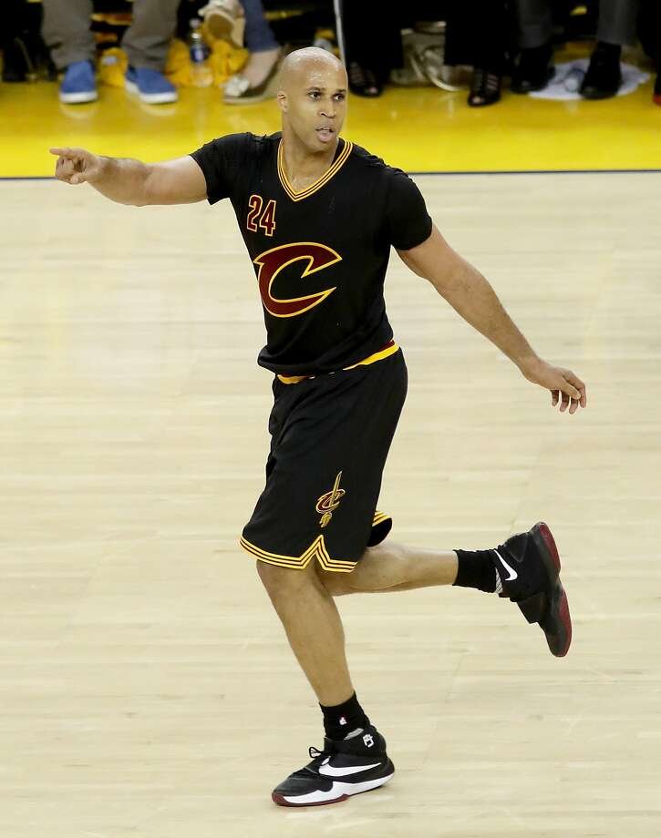 OAKLAND, CA - JUNE 13:  Richard Jefferson #24 of the Cleveland Cavaliers points during the second half against the Golden State Warriors in Game 5 of the 2016 NBA Finals at ORACLE Arena on June 13, 2016 in Oakland, California. NOTE TO USER: User expressly acknowledges and agrees that, by downloading and or using this photograph, User is consenting to the terms and conditions of the Getty Images License Agreement.  (Photo by Bruce Bennett/Getty Images) Photo: Bruce Bennett, Getty Images