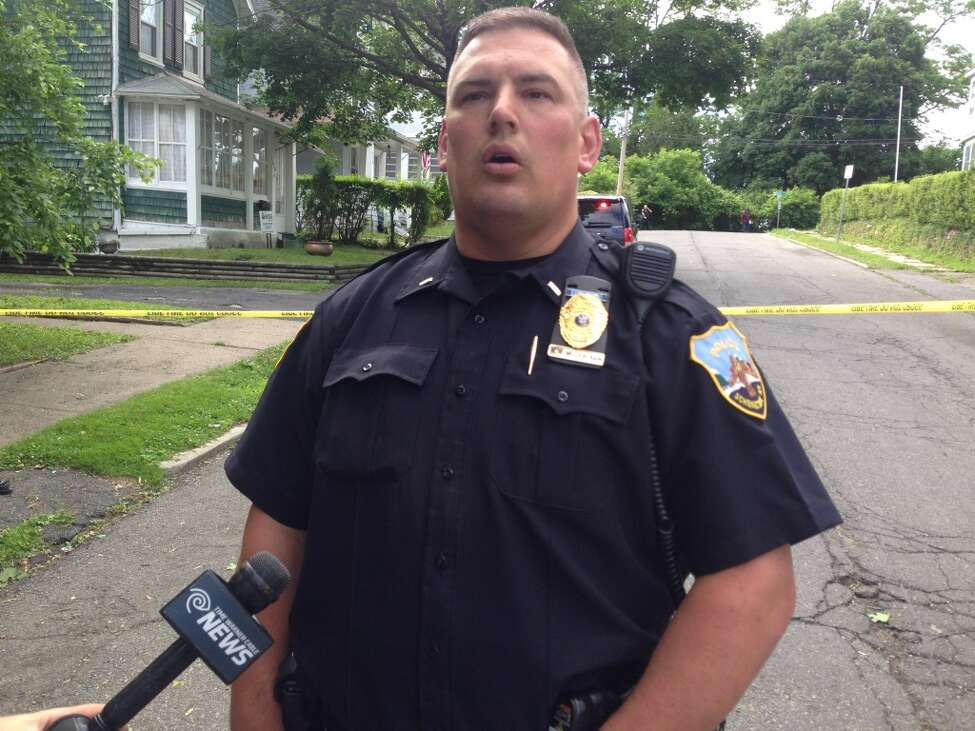 Schenectady City police spokesman Lt. Mark McCracken talks with media about a police shooting in Mont Pleasant on Monday, June 13, 2016. (Paul Nelson/Times Union)
