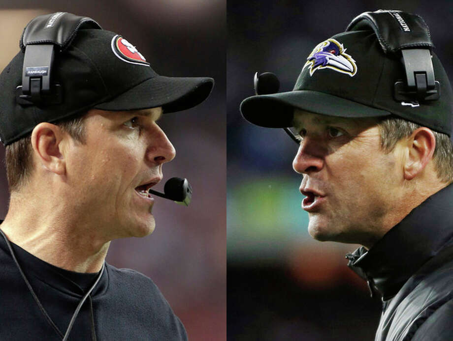 This combo image made of Sunday, Jan. 20, 2013, photos shows San Francisco 49ers head coach Jim Harbaugh, left, in Atlanta, and Baltimore Ravens head coach John Harbaugh in Foxborough, Mass., during their NFL football conference championship games. Get ready for the Brother Bowl_ it'll be Harbaugh vs. Harbaugh when Big Bro John's Baltimore Ravens (13-6) play Little Bro Jim's San Francisco 49ers (13-4-1) in the Super Bowl at New Orleans in two weeks. (AP Photos/Mark Humphrey, Matt Slocum) / AP