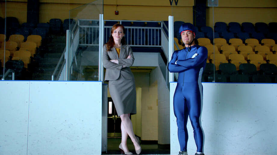 "This advertisement provided by Century 21, shows a scene from the ad ""Smarter, Bolder, Faster,"" with a Century 21 saleswoman and Olympic speedskating medalist Apolo Ohno. The ad will air during Super Bowl XLVI, Sunday, Feb. 5, 2012. (AP Photo/Century 21) / Century 21"