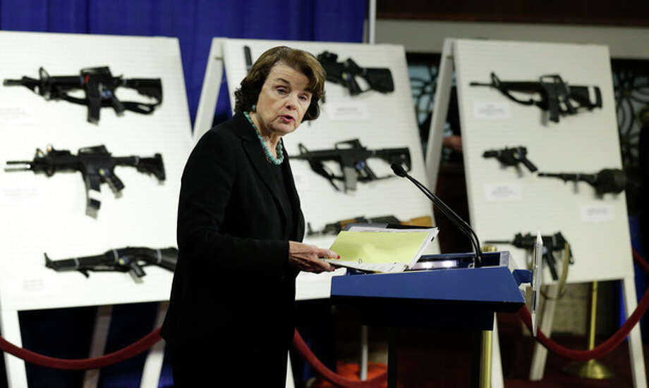 Sen. Dianne Feinstein, D-Calif. speaks during a news conference on Capitol Hill in Washington, Thursday, Jan. 24, 2013, to introduce legislation on assault weapons and high-capacity ammunition feeding devices. Congressional Democrats are reintroducing legislation to ban assault weapons but the measure faces long odds even after last month's mass school shooting in Newtown, Conn. The measure being unveiled Thursday is authored by Democratic Sen. Dianne Feinstein of California, who wrote the original assault weapons ban. That law expired in 2004 when Congress refused to renew it under pressure from the National Rifle Association. (AP Photo/Manuel Balce Ceneta) / AP